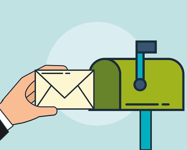 デジタルマーケティングの手が電子メールを送信する