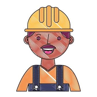 ヘルメットと全体像の建設労働者の労働者