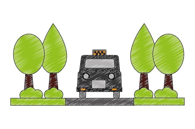 木の植物のベクトルのイラストのデザインとロンドンのタクシー