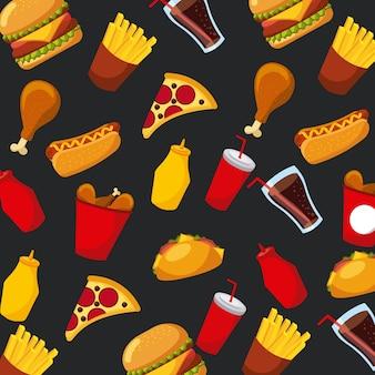 ファーストフードピザホットドッグソーダソースシームレスパターン