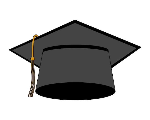 帽子、卒業、隔離された、アイコン、イラスト