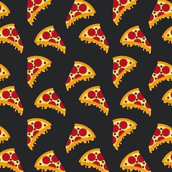 シームレスなパターンファーストフードピザ黒い背景