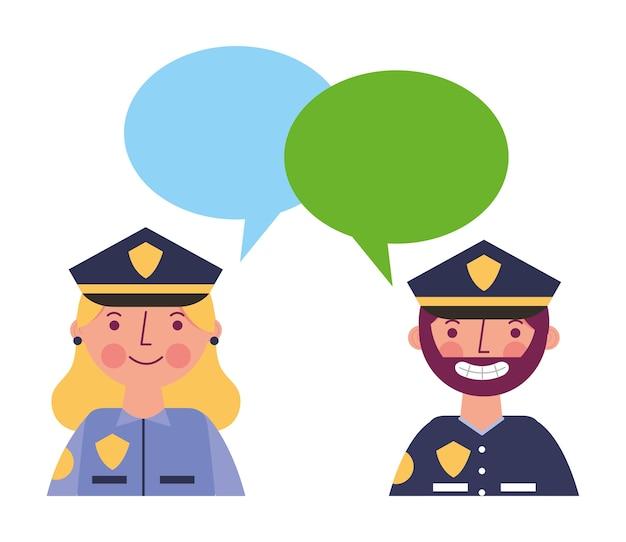 女性と男性の警察の肖像画の泡