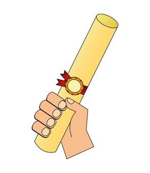 Рука с дипломом окончания векторной иллюстрации дизайн