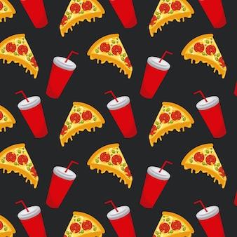 シームレスなパターンのファーストフードピザソーダカップ