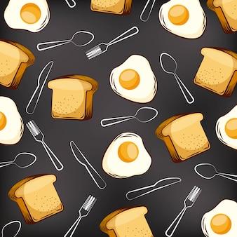 シームレスなパターンの揚げ卵のパンとフォークのスプーンナイフ