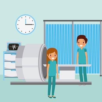 医師は機械モニタの医療用時計装置をスキャンする