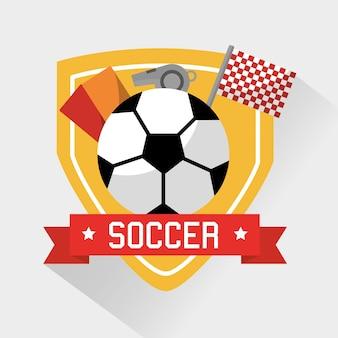 サッカースポーツボールカードのホイッスルと旗