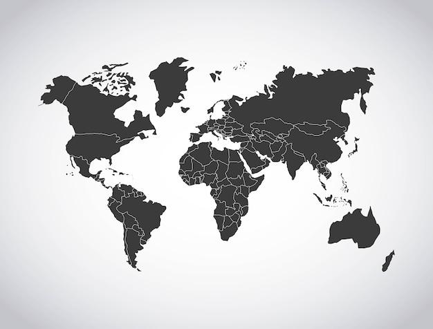 世界地図デザインのベクトル図