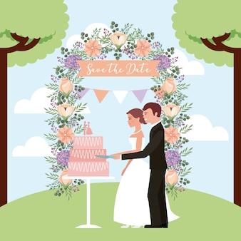 カップル、結婚式、ケーキ、アーチ、花、日付、節約
