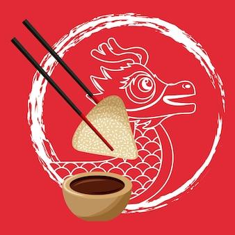 中国の龍の餃子の箸とソース