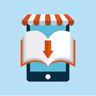 ブックとスマートフォンアイコン。オーディオブックデザイン。ベクターグラフィック