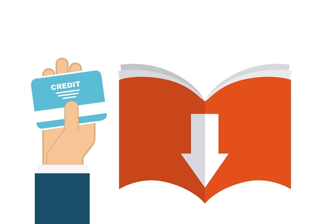 ブックとクレジットカードのアイコン。オーディオブックデザイン。ベクターグラフィック