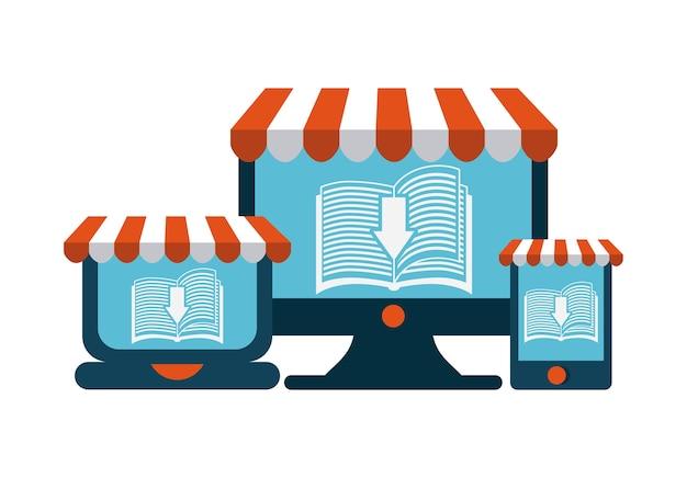 書籍とガジェットのアイコン。オーディオブックデザイン。ベクターグラフィック