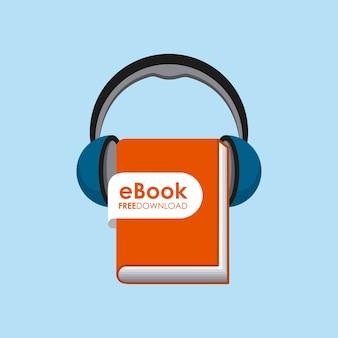 ブックとヘッドフォンアイコン。オーディオブックデザイン。ベクターグラフィック