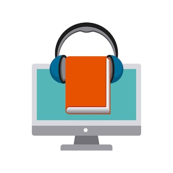 コンピュータ、ブック、ヘッドフォンのアイコン。オーディオブックデザイン。ベクトルグレー