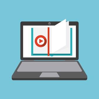 ブックとラップトップのアイコン。オーディオブックデザイン。ベクターグラフィック