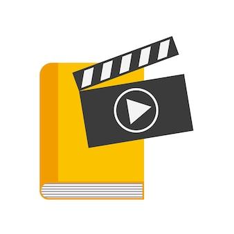 Значок «книга и игра». дизайн аудиокниг. векторная графика