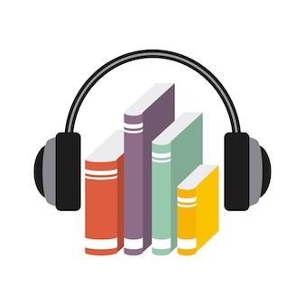 Значок книги и наушников. дизайн аудиокниг. векторная графика