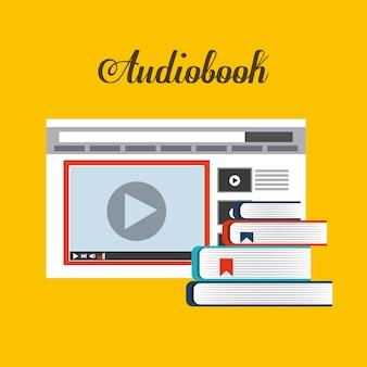 ブックとウェブサイトのアイコン。オーディオブックデザイン。ベクターグラフィック