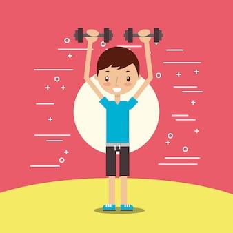 かわいい男の子のトレーニングは、ダンベルのフィットネスを持ち上げる
