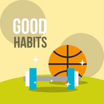 Баскетбольный мяч и гантель вес хорошие привычки