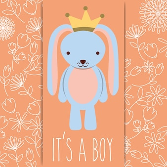 その男の子のベビーシャワークラウンカードと青いウサギ