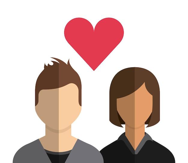 Пара с сердцем любви