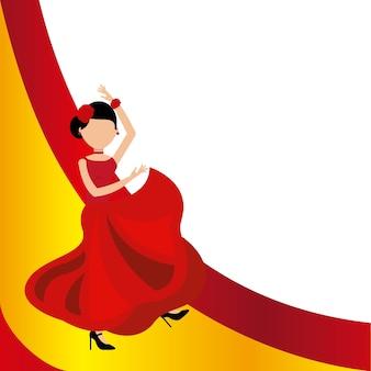 スペインの文化のフラメンコクラシックアイコンをダンスする女性