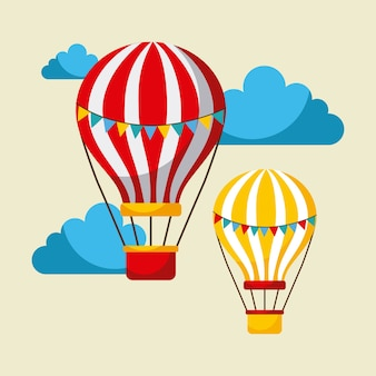 Воздушные шары летают карнавально веселое честное празднование