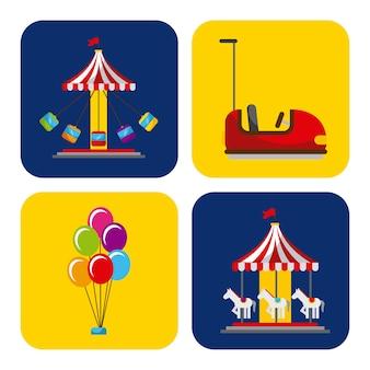 Коллекция элементов, связанных с карнавальным и цирковым фестивалем
