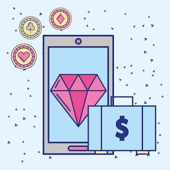 スマートフォンとマネースーツケースカジノアプリイメージ