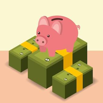 ビジネスピギーバンク積み上げられた紙幣お金