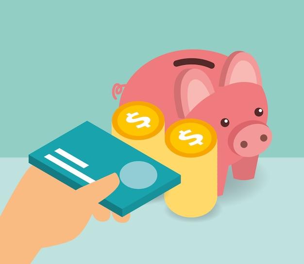 Ручная банковская карта и монеты банка пигмейских денег изометрические