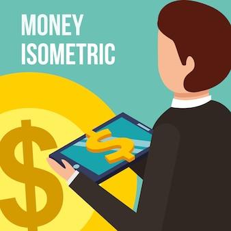 Бизнесмен с планшетным компьютером монета доллар деньги изометрический