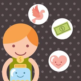 瓶、お金、コイン、心、慈善団体