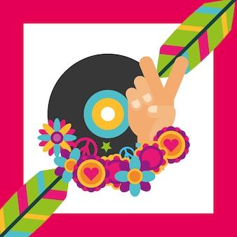 ビニールディスクの音楽の羽の花ヒッピーの自由な精神