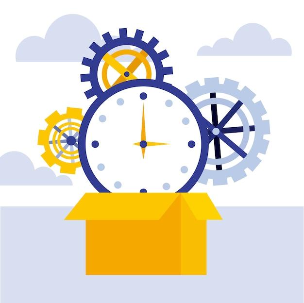 ビジネスコンセプトカートンボックス時計時間ギア