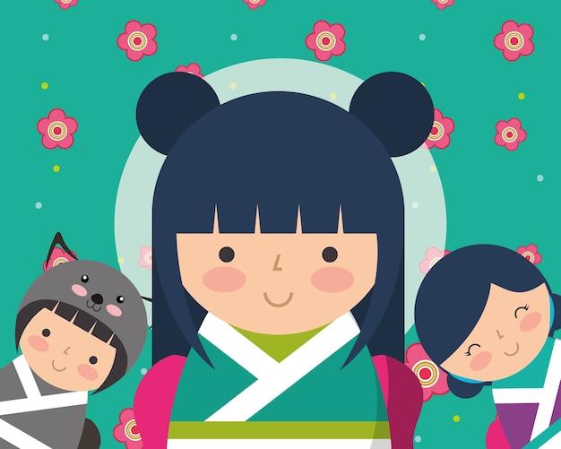 日本の古着人形着物