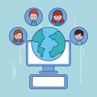 Глобус мир люди компьютерные технологии социальные сети
