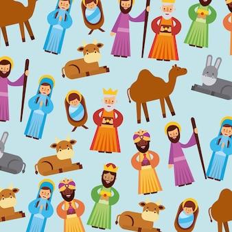 人々のセット動物マージャークリスマス休暇
