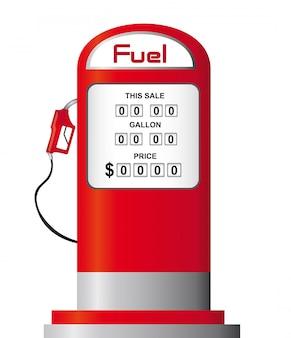 赤い燃料ポンプは、白い背景のベクトルを介して分離