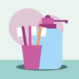 液体石鹸ディスペンサーと歯ブラシのバスルーム