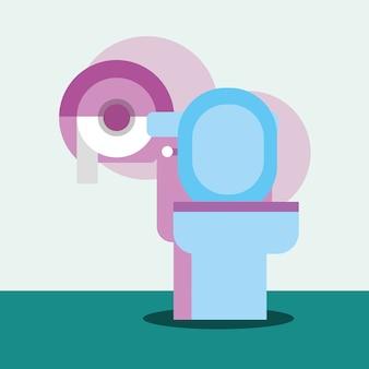 トイレとディスペンサーの紙の漫画のバスルーム