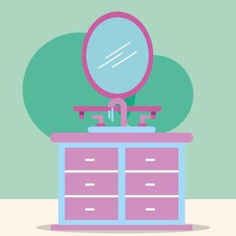 家具洗面器と鏡の漫画のバスルーム