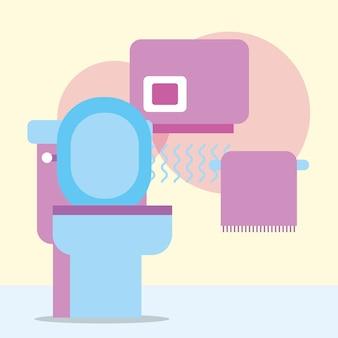 トイレ手乾燥機とタオル掛けバスルーム