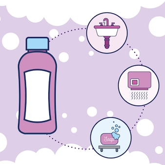 ボトルシャンプー洗面器乾燥機と石鹸
