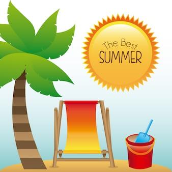 景観の背景の上の夏のデザイン