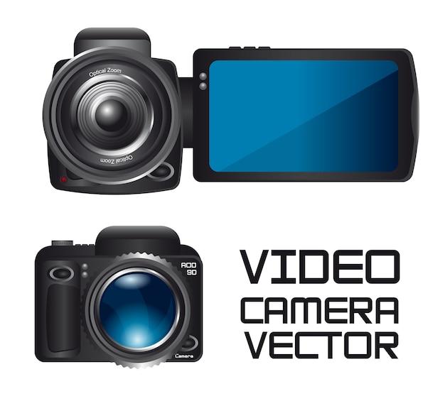 ビデオ、カメラ、白背景ベクトル上に隔離