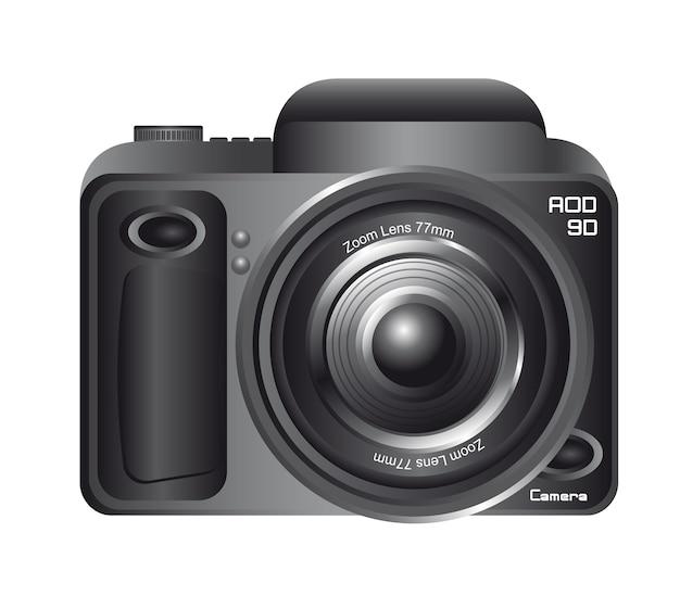 白い背景の上に隔離された黒いカメラ